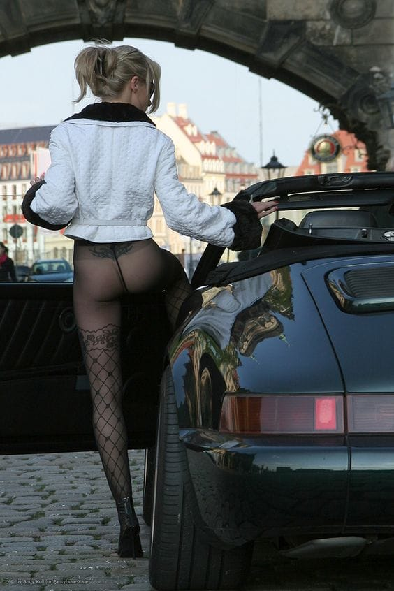 See Through Stockings With Car