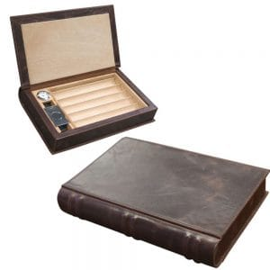 Novelist Leather Book Cigar Humidor Travel Case