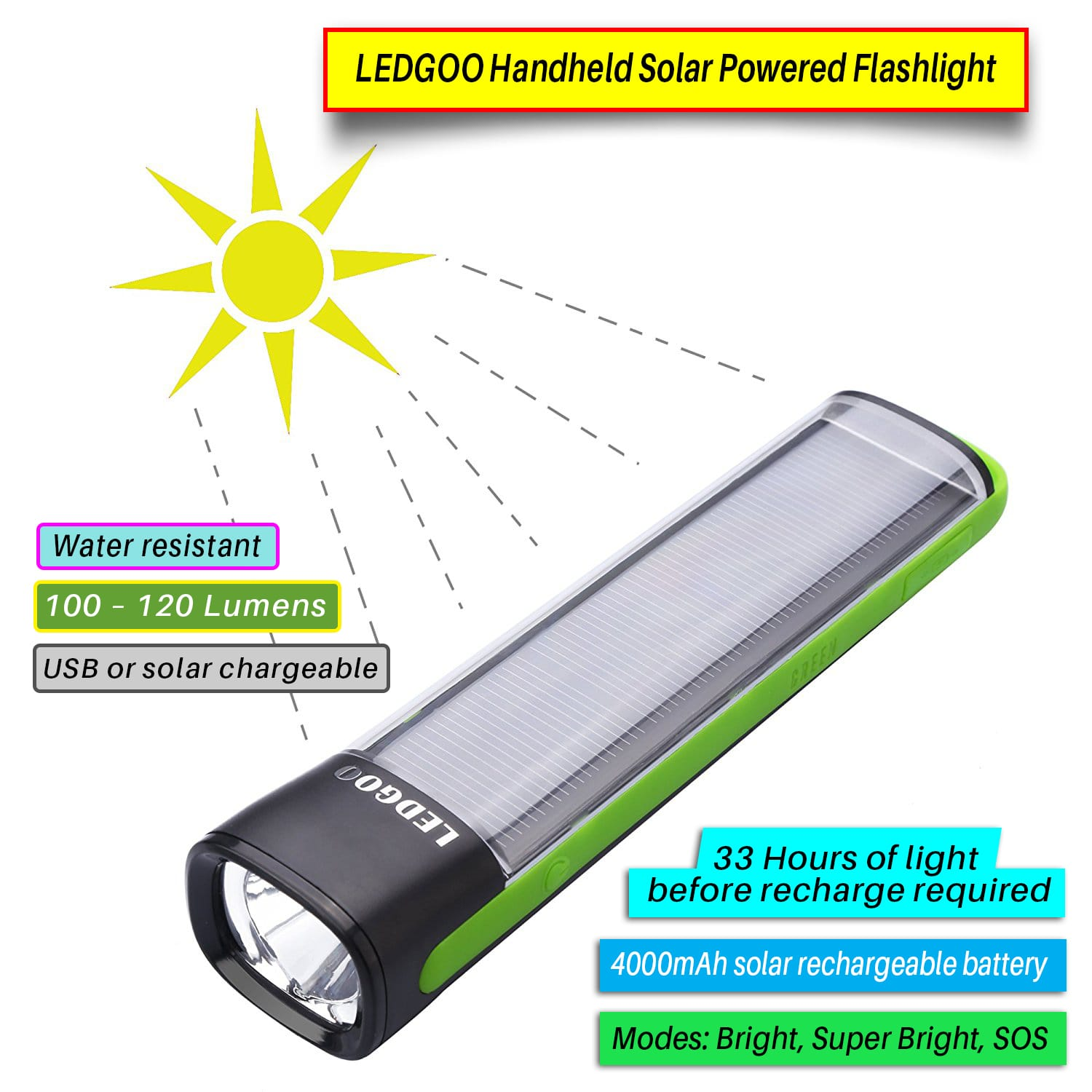 Solar Powered Flashlight For Camping