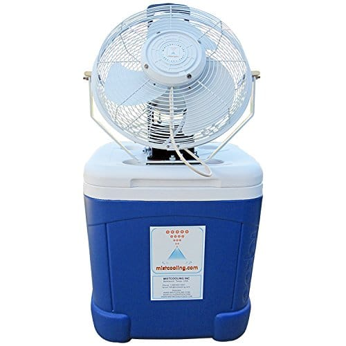 Mist cooling cooler top misting fan